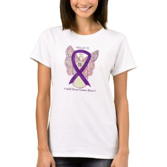 Purple Awareness Ribbon Angel Custom Cause Shirts