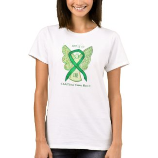 Green Awareness Ribbon Angel Custom Cause Shirts