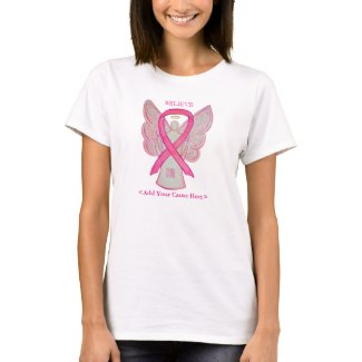 Pink Awareness Ribbon Angel Custom Cause Shirts