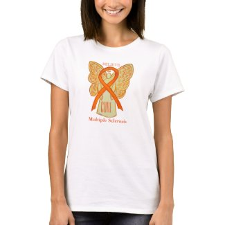Multiple Sclerosis Awareness Ribbon Angel T-Shirts
