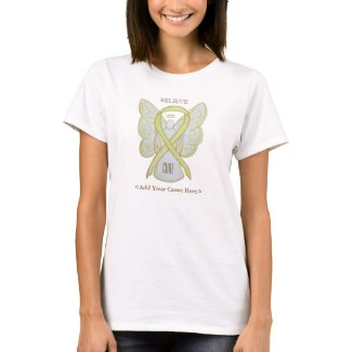 Yellow Awareness Ribbon Angel Custom Cause Shirts