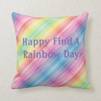 Happy Bright Rainbow Pillow Custom Text Reversible