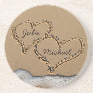 Personalized Hearts in the Sand coasters