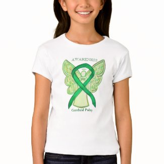 Cerebral Palsy Green Awareness Ribbon Angel Shirt