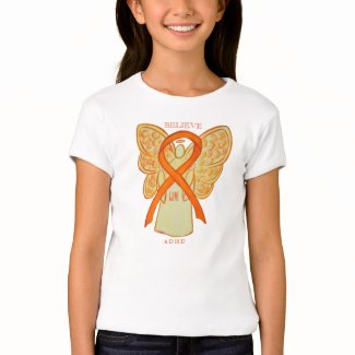 ADHD Orange Awareness Ribbon Angel Custom Shirt