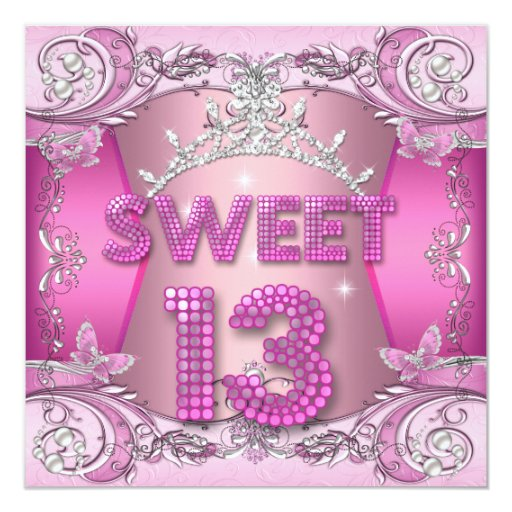 Sweet 13 13th Birthday Party Pink Silver Tiara 5.25x5.25
