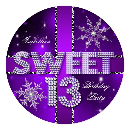 Sweet 13 13th Birthday Purple Winter Wonderland Invitation