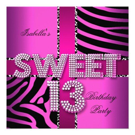 Sweet 13 13th Birthday Zebra Cow Pink Black 5.25x5.25