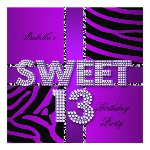 "Sweet 13 13th Birthday Zebra Cow Purple Black 5.25"" Square"