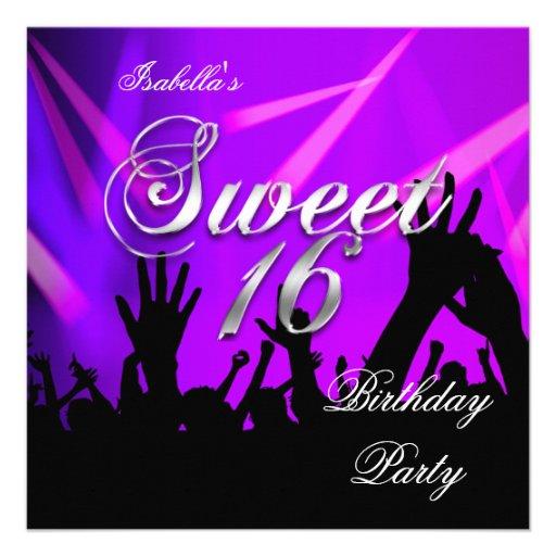 Sweet 16 16th Birthday Purple Rave Dance Party 5.25x5.25