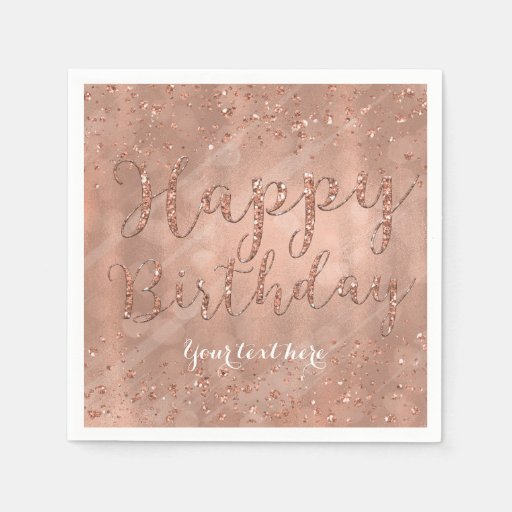 16 Rose Gold And Copper Details For Stylish Interior Decor: Sweet 16 Birthday Faux Rose Gold Glitter Party Napkin