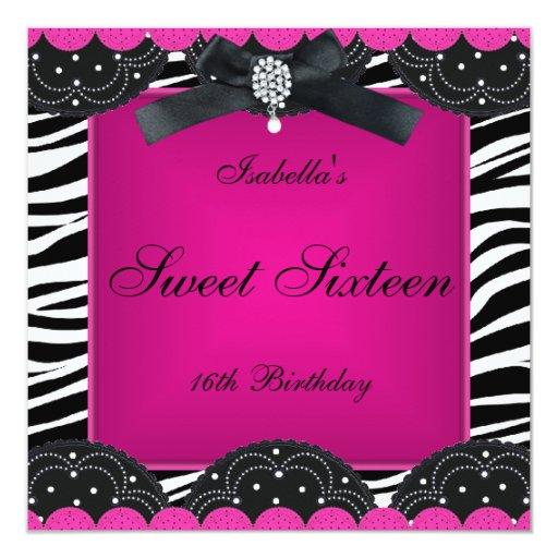 Sweet 16 Birthday Party Hot Pink Black White Zebra
