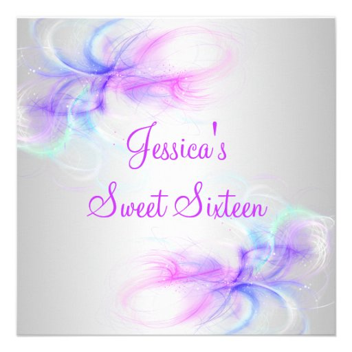 Personalized Silver Sweet 16 Invitations