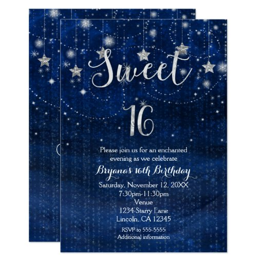 Sweet 16 Starry Night Silver & Blue Invitation | Zazzle