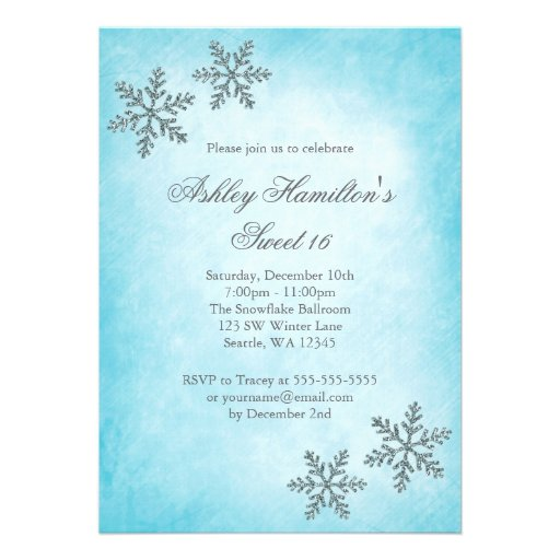 personalized winter wonderland sweet 16 invitations