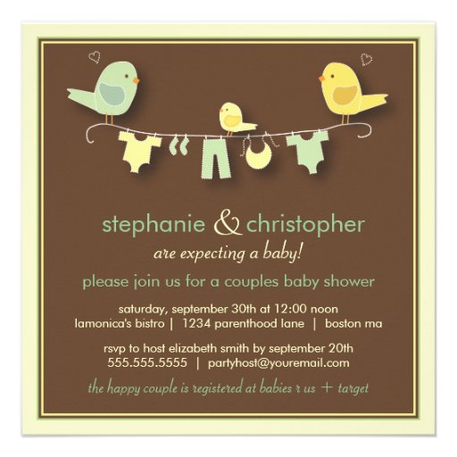 Family Baby Shower Invitations: Sweet Bird Family Couples Baby Shower Invitation 5.25