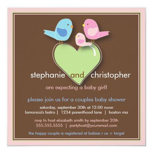 Family Baby Shower Invitations: Sweet Bird Family Couples Baby Shower Invitation