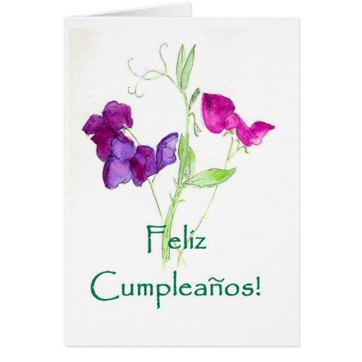 Sweet Peas Birthday Card - Spanish Greeting