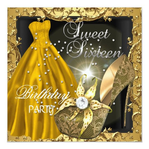 Sweet Sixteen 16 Birthday Party Gold Dress Gown Card Zazzle