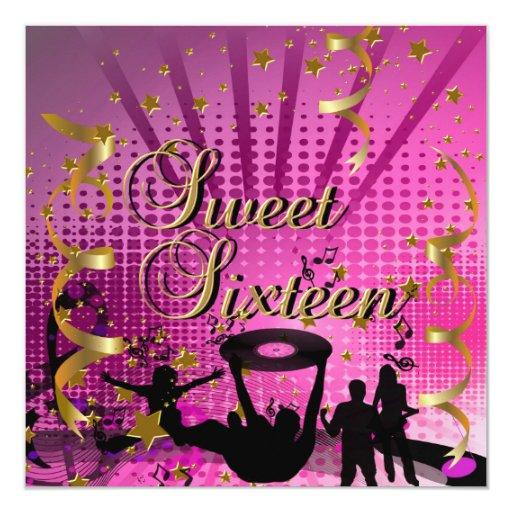 Sweet Sixteen 16 Birthday Pink Gold Stars Rave 3