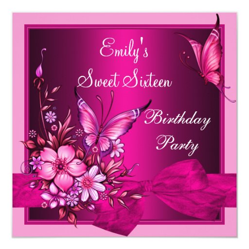 Sweet Sixteen 16 Pink Flowers Butterfly Birthday Card