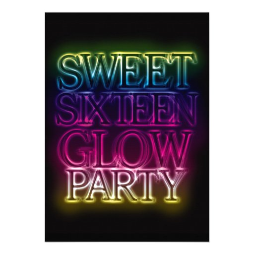 Personalized Glow Sweet 16 Invitations