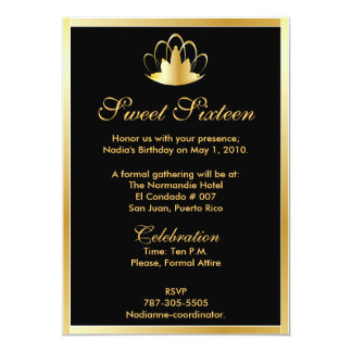 Sweet sixteen golden tiara invitation customize 5 x 7 for Sweet sixteen program template