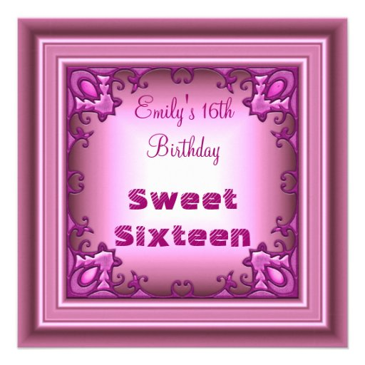 Sweet Sixteen Pale Pink Frame 16th Birthday Party 5.25x5