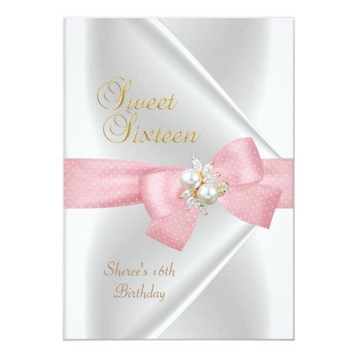 "Sweet Sixteen Sweet 16 White Pearl Jewel Pink Bow 5"" X 7"