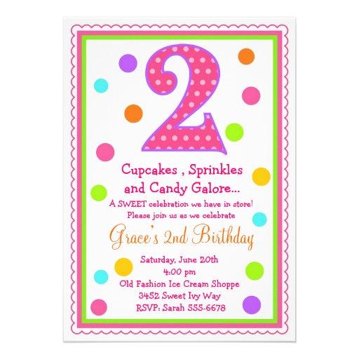"Sweet Surprise 2nd Birthday Invitation 5"" X 7"" Invitation"