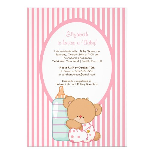 Pink Teddy Bear Baby Shower: Sweet Teddy Bear Baby Shower Invitation Pink