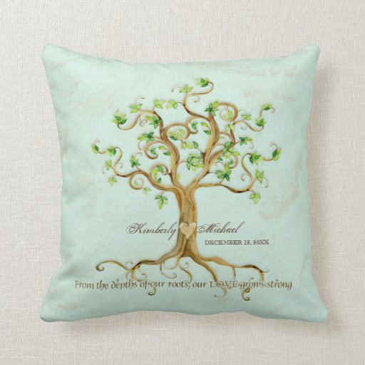 Personalized Pillows For Wedding Gift: Swirl Tree Of Life Roots Personalized Wedding Gift Pillows