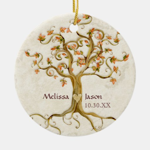 Christmas Decorations With Names On Them: Swirl Tree Roots Antiqued Personalized Names Heart Ceramic