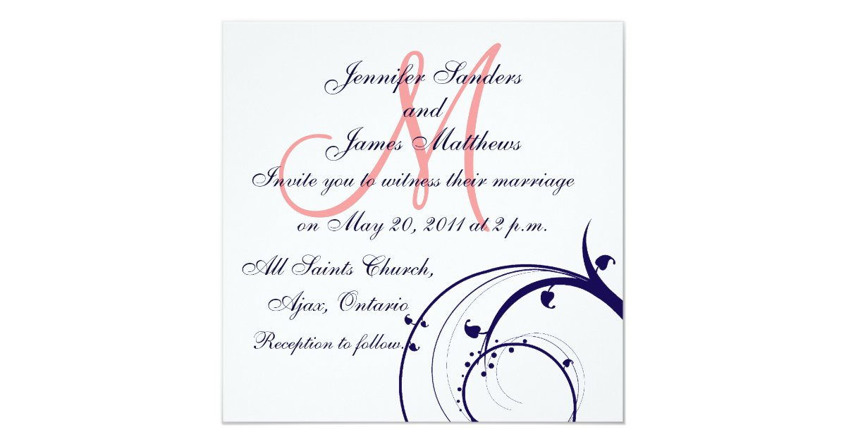 Blue And Coral Wedding Invitations: Swirl Wedding Invitations Navy Blue Coral Pink