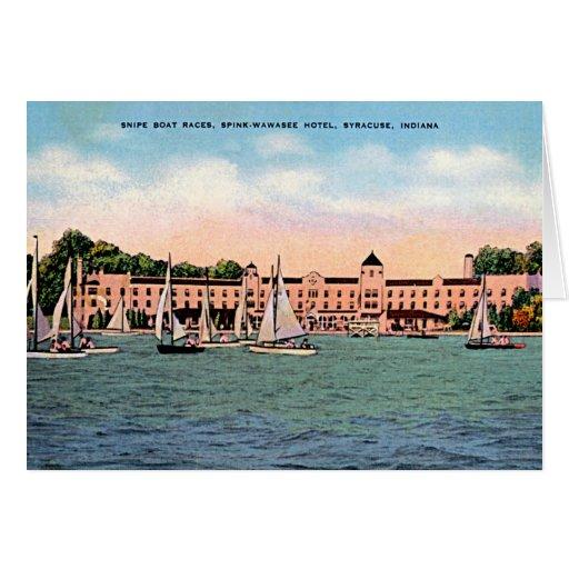 Syracuse, Indiana Spink Hotel on Lake Wawasee Card | Zazzle