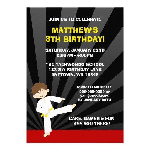 """Taekwondo Karate Yellow Belt Birthday Invitations 5"""" X 7"""