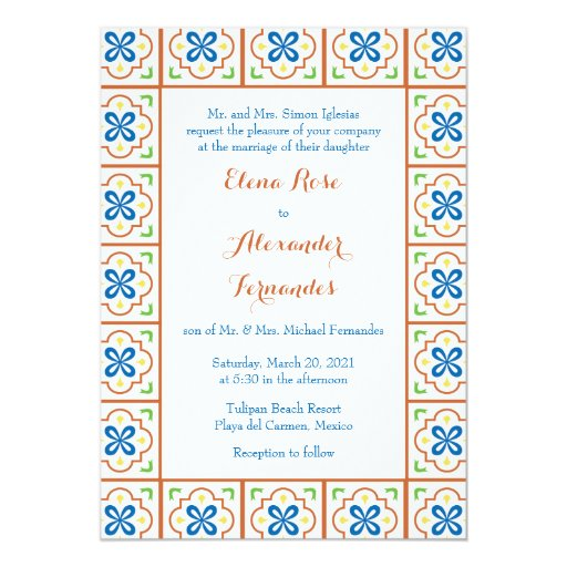 Spanish Wedding Invitations: Talavera Spanish Tile Wedding Invitation