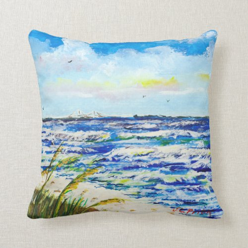 Tampa Bay Florida Beach Sunshine Skyway Bridge Pillows