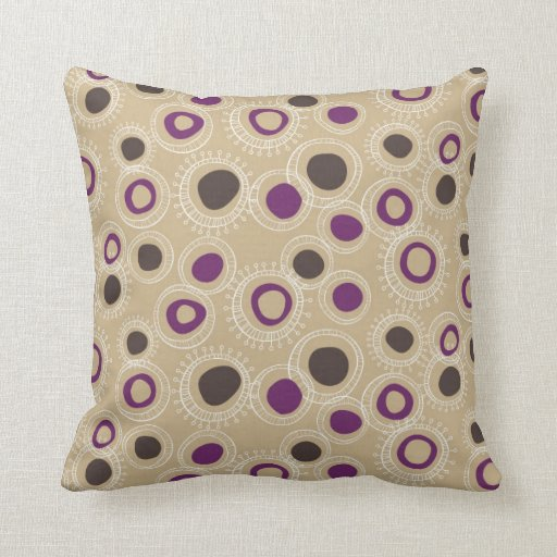 Tan Brown And Purple Doodled Circles Throw Pillows Zazzle