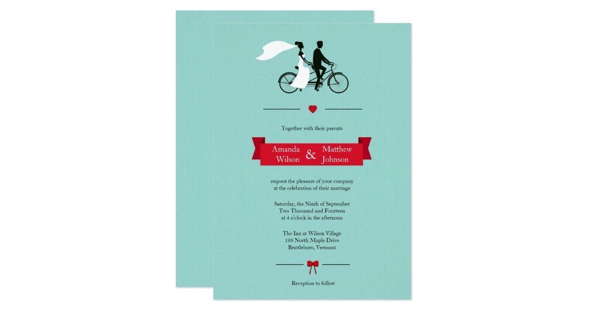 Tandem Bike Wedding Invitations: Tandem Bicycle Aqua Wedding Invitations