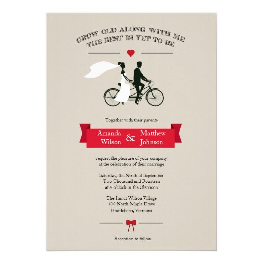 "Tandem Bicycle Vintage Wedding Invitations 5"" X 7"