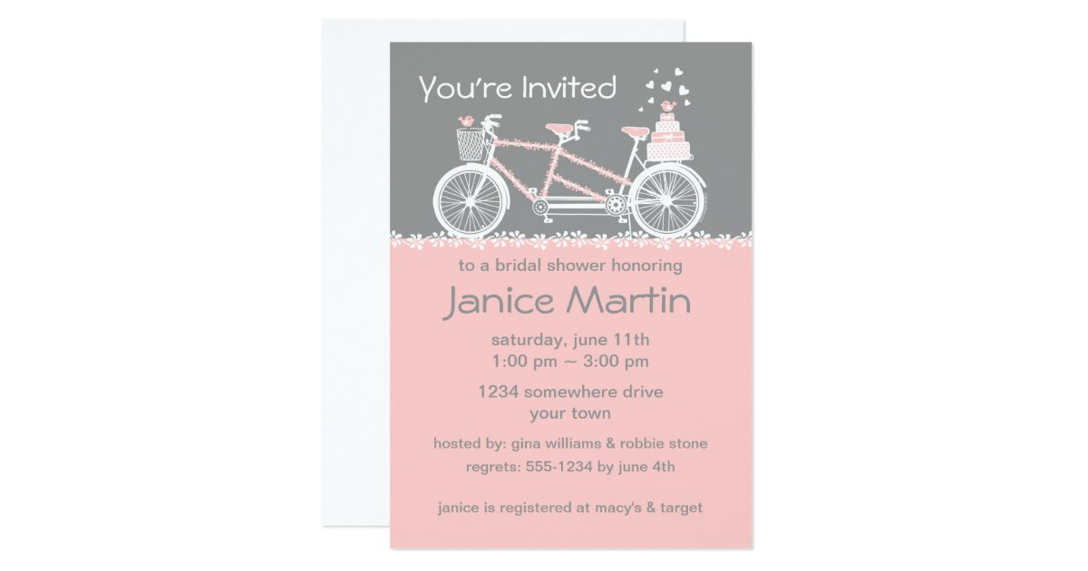 Tandem Bike Wedding Invitations: Tandem Bicycle Wedding Shower Invitation