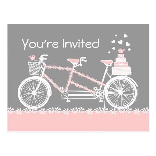 Tandem Bicycle Wedding Shower Invitation Postcard