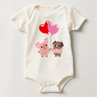 Tangled Hearts (Cartoon Pigs) Baby apparel shirt