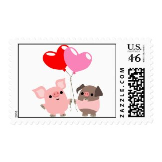 Tangled Hearts (Cartoon Pigs) postage stamp stamp
