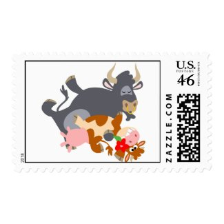 Tango!! (cartoon bull and cow) postage stamp stamp