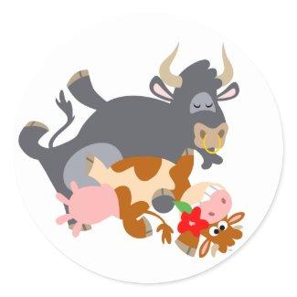 Tango!! (cartoon bull and cow) sticker sticker