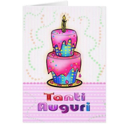 Tanti Auguri Italian Happy Birthday Cake Pink Blue Card