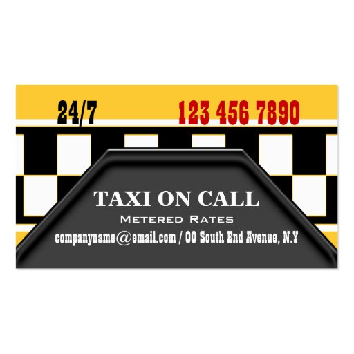 taxi cab driver services business card template zazzle. Black Bedroom Furniture Sets. Home Design Ideas