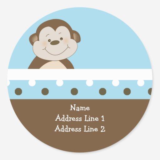 Tba round address labels blue bambino monkey stickers